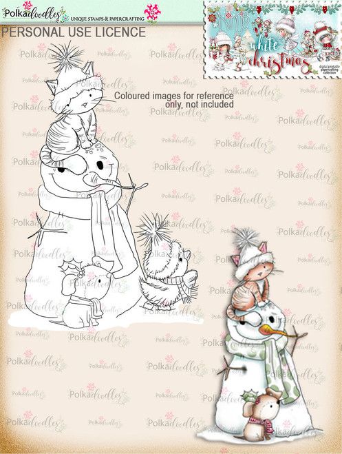 Snowman & Friends Digital Stamp download - Winnie White Christmas printables...Craft printable download digital stamps/digi scrap