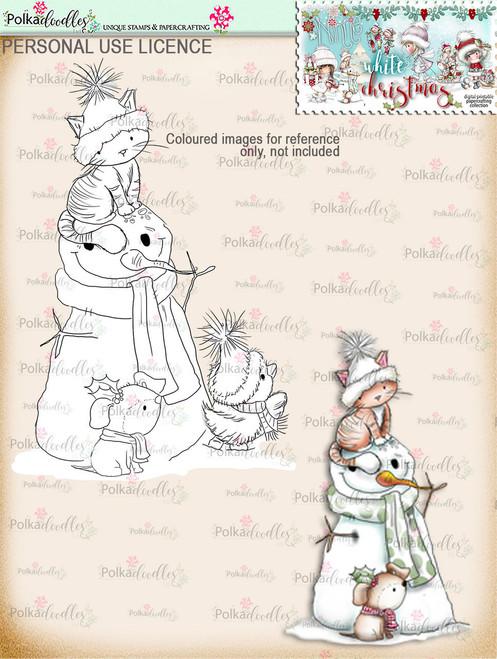 Snowman & Friends Digital Stamp download - Winnie White Christmas printables...Craft printable download digital stamps/digi scrap