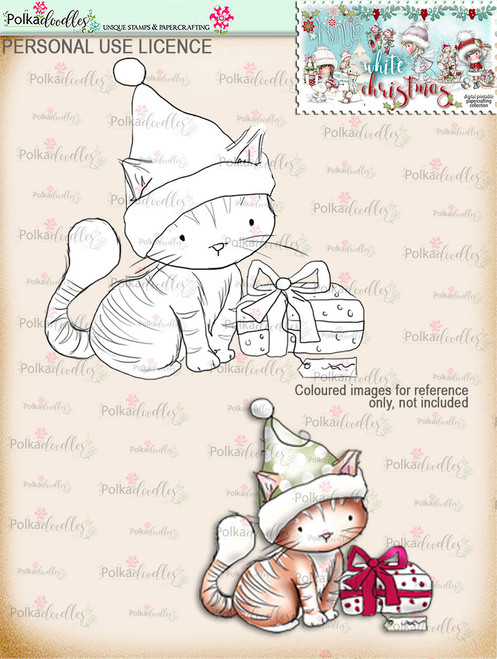 Christmas Kitty Digital Stamp download - Winnie White Christmas printables...Craft printable download digital stamps/digi scrap
