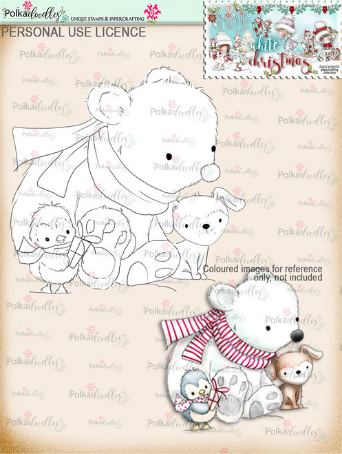 Cute Snow Friends Digital Stamp download - Winnie White Christmas printables...Craft printable download digital stamps/digi scrap