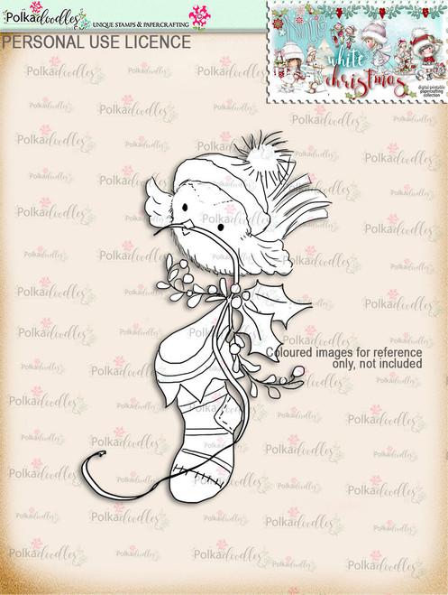 Cute Robin Stocking Digital Stamp download - Winnie White Christmas printables...Craft printable download digital stamps/digi scrap