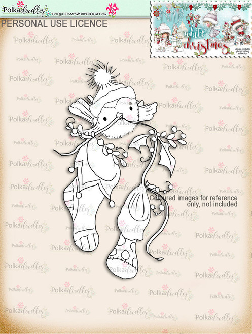 Cute Robin with 2 Stockings Digital Stamp download - Winnie White Christmas printables...Craft printable download digital stamps/digi scrap
