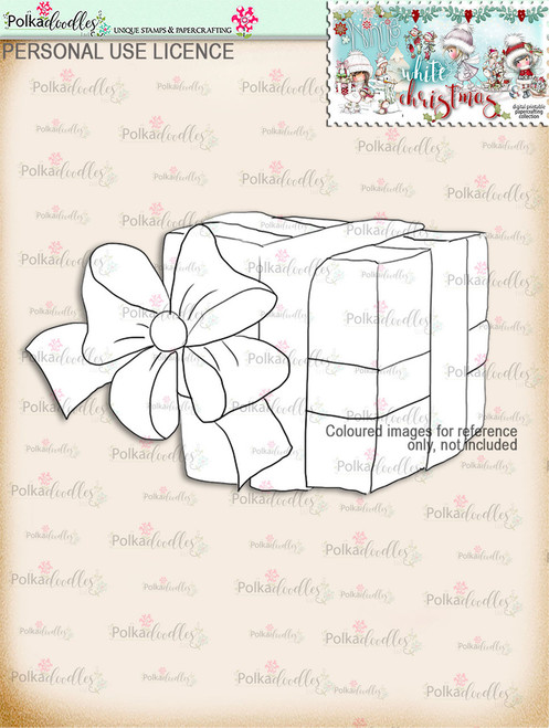 Christmas Gift Digital Stamp download - Winnie White Christmas printables...Craft printable download digital stamps/digi scrap