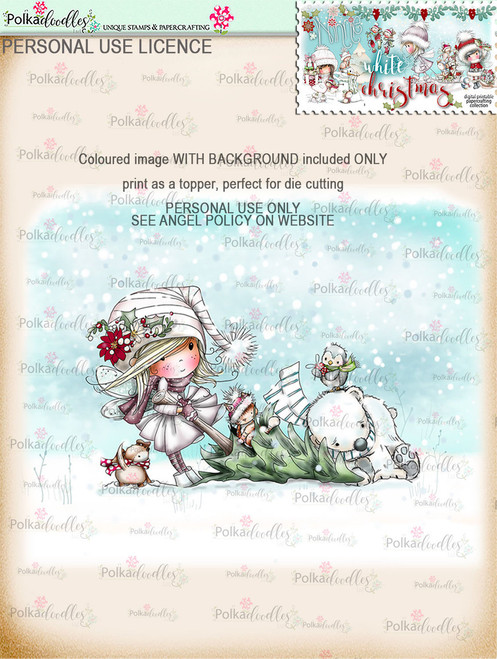Buying the Tree  - Coloured Digital Stamp download. Winnie White Christmas printables.Craft printable download digital stamps/digi scrap