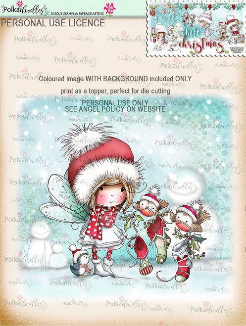 Robin Stocking Friends  - Coloured Digital Stamp download. Winnie White Christmas printables.Craft printable download digital stamps/digi scrap