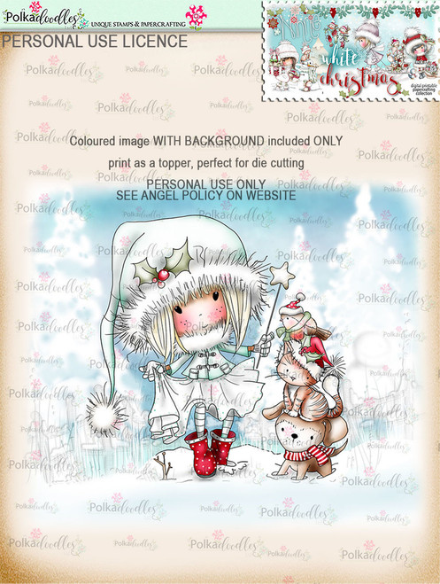 Snowdrift Steps - Coloured Digital Stamp download. Winnie White Christmas printables.Craft printable download digital stamps/digi scrap