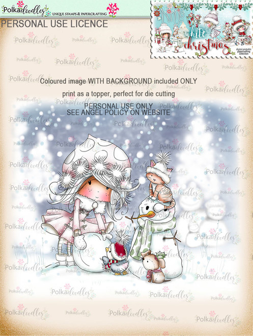 Snowballs and Snowmen - Coloured Digital Stamp download. Winnie White Christmas printables.Craft printable download digital stamps/digi scrap