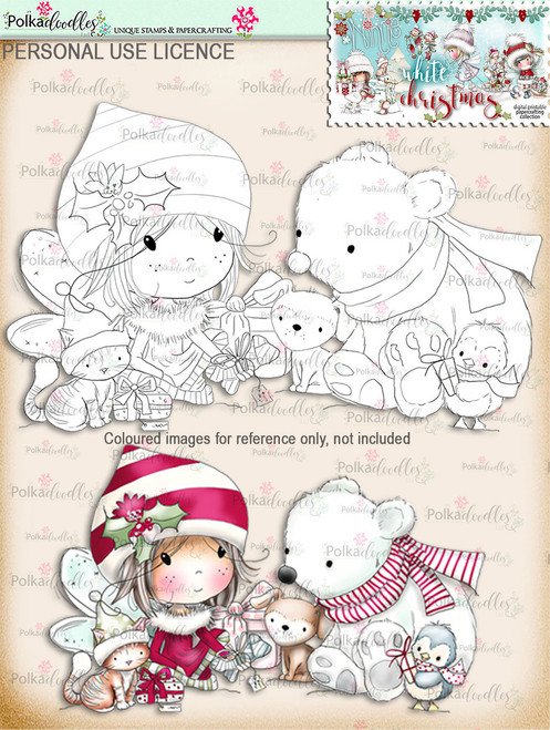 Time to Give Gifts - Digital Stamp download. Winnie White Christmas printables.Craft printable download digital stamps/digi scrap