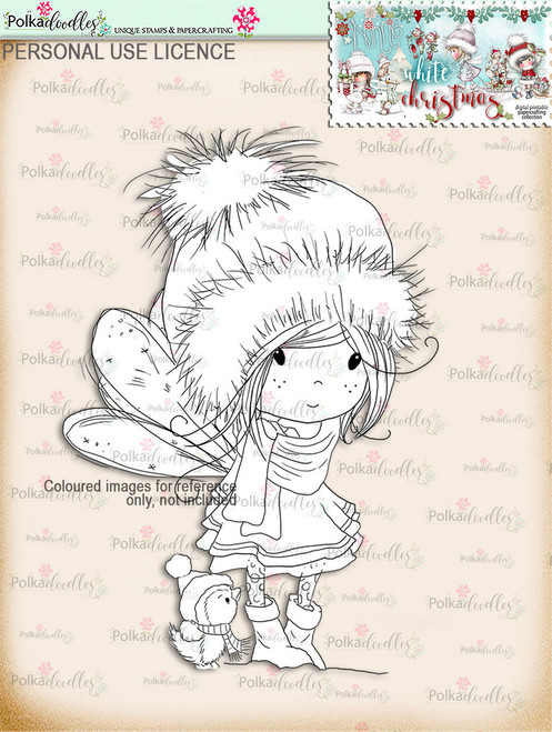 Winnie & Penguin  - Digital Stamp download. Winnie White Christmas printables.Craft printable download digital stamps/digi scrap