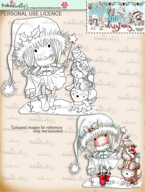 Snowy Footprints - Digital Stamp download. Winnie White Christmas printables.Craft printable download digital stamps/digi scrap