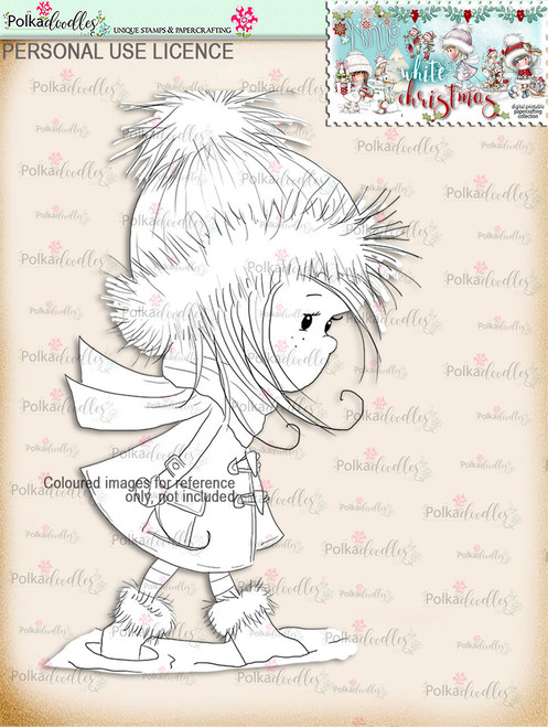 Wrapped up Warm - Digital Stamp download. Winnie White Christmas printables.Craft printable download digital stamps/digi scrap