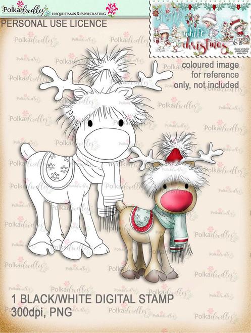 Rudolph - Digital Stamp download. Winnie White Christmas printables.Craft printable download digital stamps/digi scrap