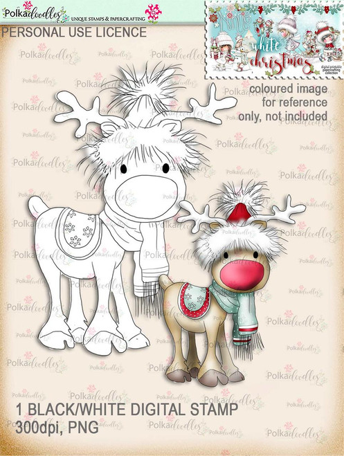 Rudolph - Digital Stamp download. Winnie White Christmas printables.Craft printable download digital stamps/digi scrap