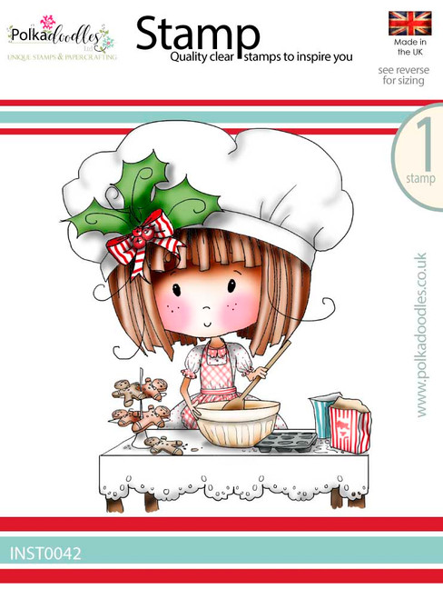Winnie Baking Gingerbread - Winnie White Christmas Clear Polymer Stamp.