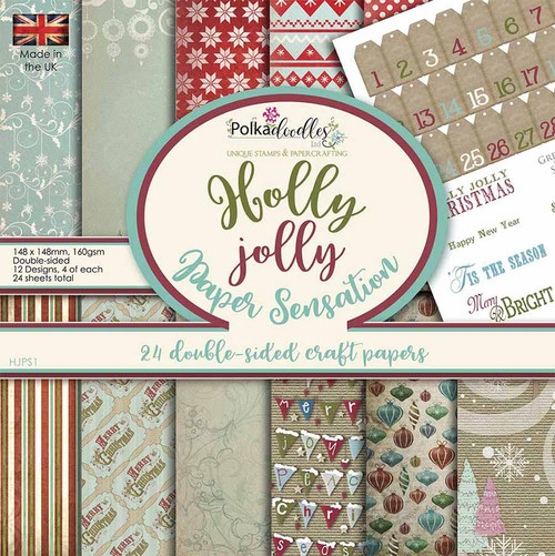 "Holly Jolly Christmas Paper pad, 6 x 6"" designs, 24 sheets, double-sided papers"