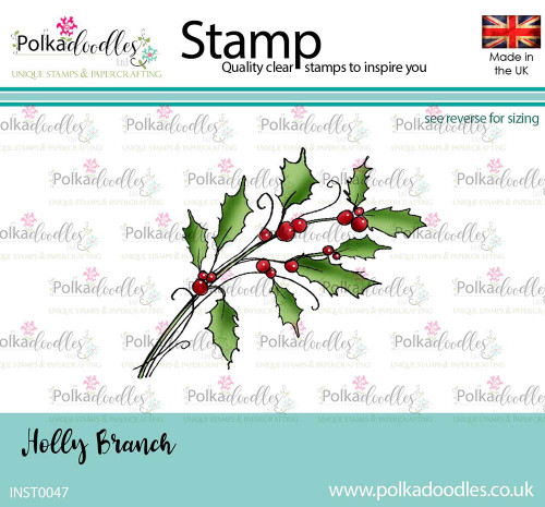 Holly Branch - clear polymer Christmas stamp