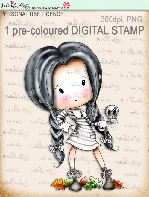 Winnie Wednesday Skull - Digital Stamp download printable clipart. Craft printable download digital stamps/digi scrap