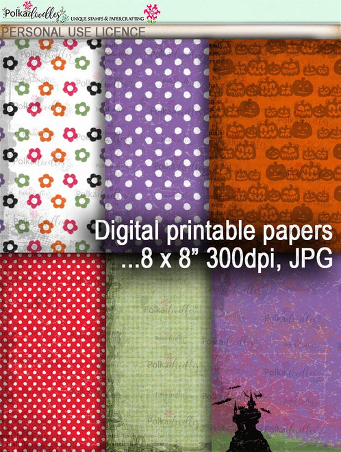 Printable download Halloween Trick or Treat papers 2 - Digital Stamp download printable clipart. Craft printable download digital stamps/digi scrap