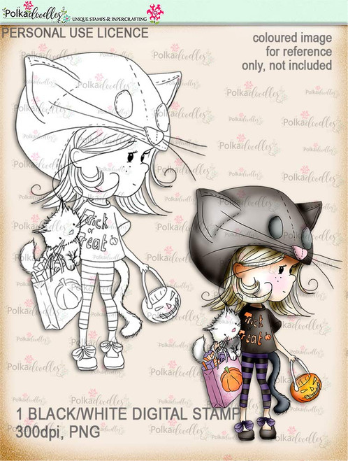 Winnie Wednesday Trick or Treat - Digital Stamp download printable clipart. Craft printable download digital stamps/digi scrap