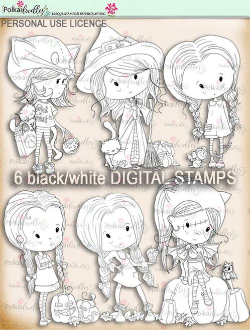Winnie Wednesday pumpkin Digi stamp Printable download Halloween Trick or Treat  - Digital Stamp download printable clipart.