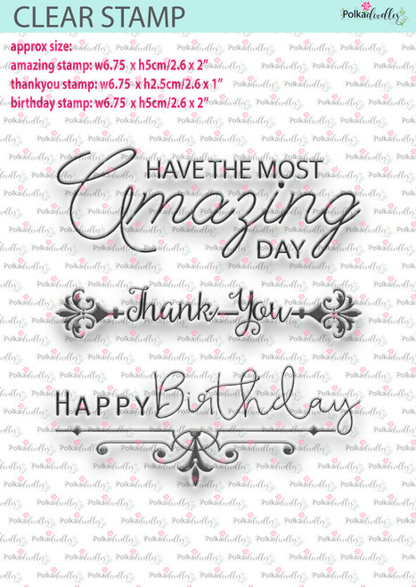 Amazing Trio - Amazing/thankyou/birthday - 3 Large clear craft stamps