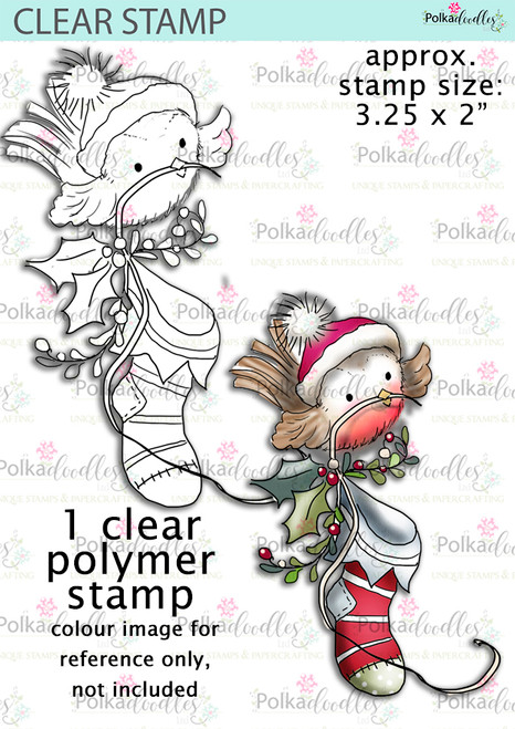 Cute Robin Xmas Stocking Clear Stamp