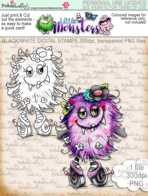 Little Monsters Wheelieshirl digi stamp download