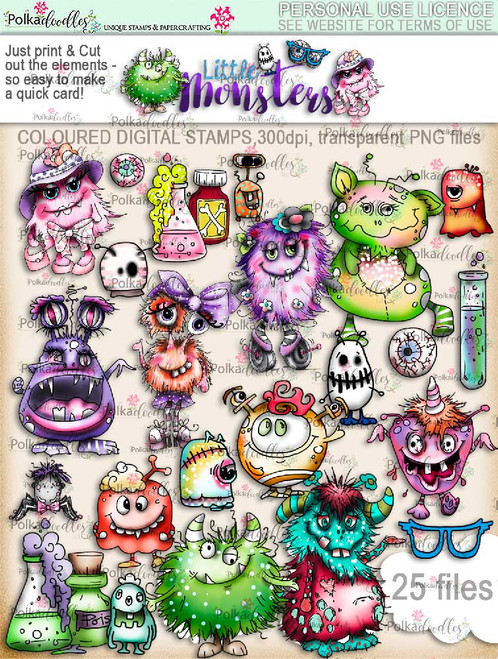 Little Monsters precoloured digi stamps download digi scrap kit printables