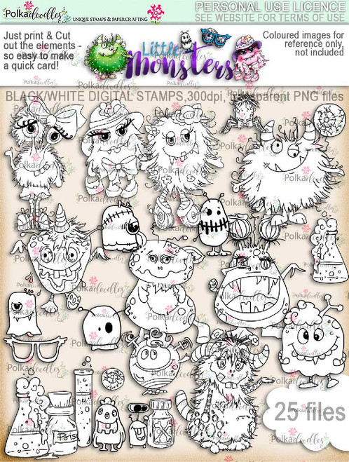 Little Monsters digi stamps download digi scrap kit printables