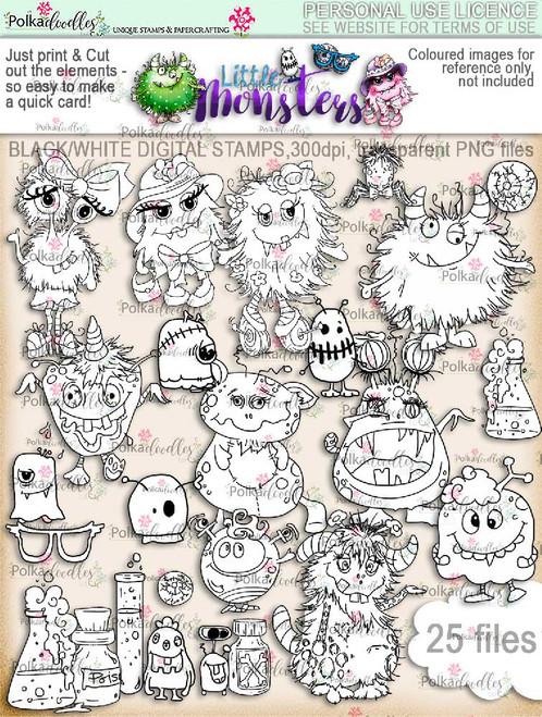 Little Monsters digi stamps download digi scrap kit printables