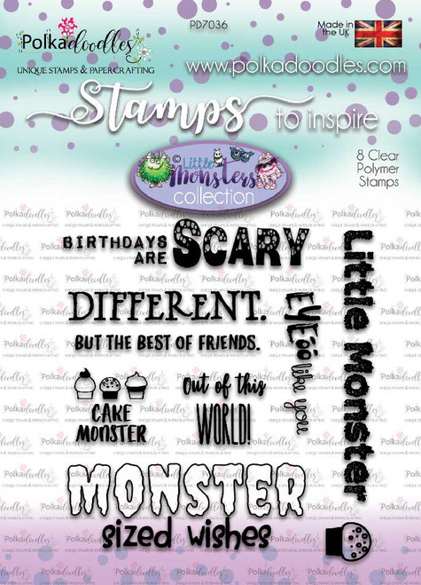 Little Monsters clear stamp set - scary messages