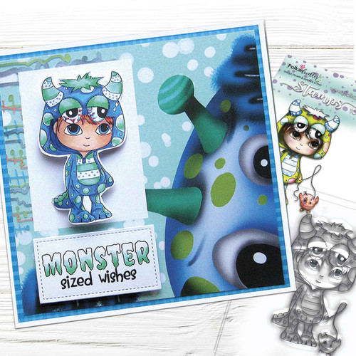 Little Monsters stamp - Pip Monster Costume Onesie (PD7037)