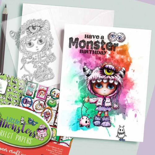 Little Monsters stamp - Ivy Monster Costume Onesie Halloween