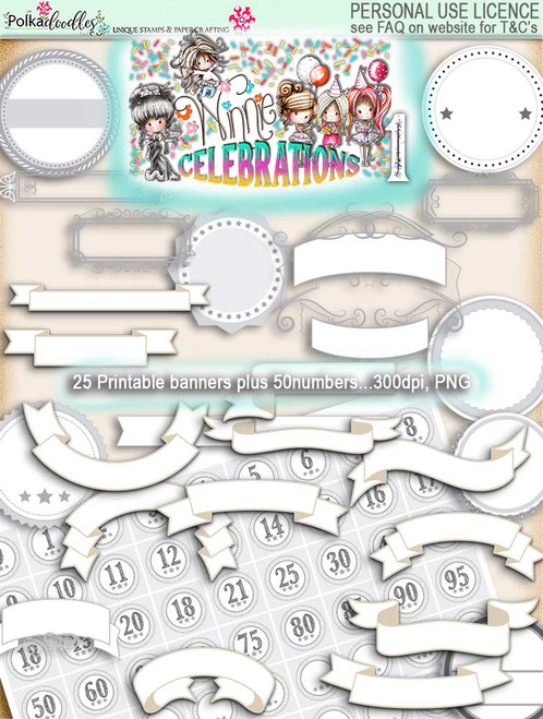 Winnie Celebrations 1... Banners & Numbers - digi scrap kit download digital paper printables. High quality 300dpi.