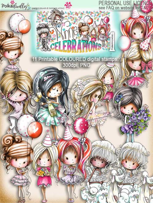 Winnie Celebrations 1... 11 Coloured digi stamps - digi scrap kit download digital printables. High quality 300dpi.