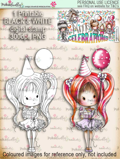 Winnie Celebrations 1... Let's Celebrate digi stamp printable download