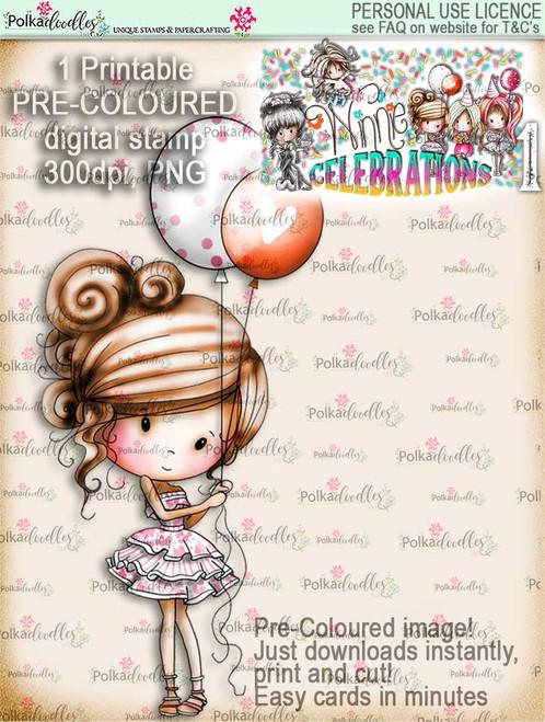 Winnie Celebrations 1... Party Time COLOUR digi stamp printable download