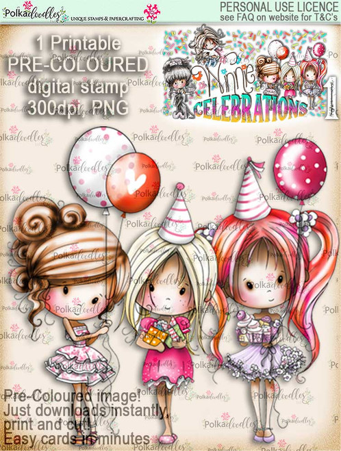 Winnie Celebrations 1... From All of Us COLOUR digi stamp printable download