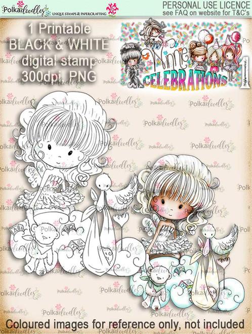 Winnie Celebrations 1...New Baby digi stamp printable download