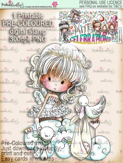 New Baby...COLOUR digi stamp printable download - Winnie Celebrations 1