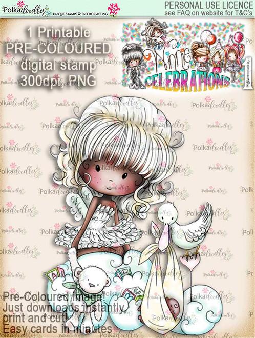 New Baby...ethnic COLOUR digi stamp printable download - Winnie Celebrations 1