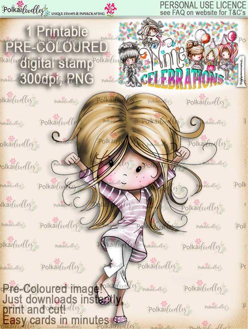 Hooray! COLOUR digi stamp printable download - Winnie Celebrations 1