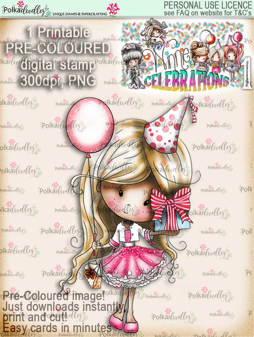 Birthday Balloon COLOUR digi stamp printable download - Winnie Celebrations 1