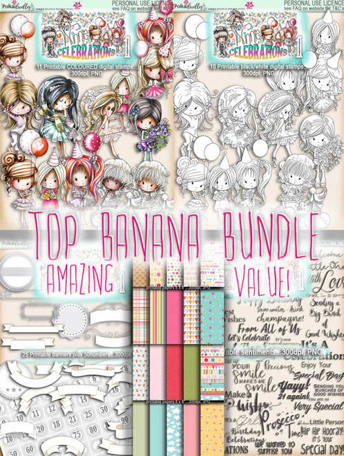 Winnie Celebrations 1...Top Banana bundle, mega value kit of digi stamps, papers, sentiments, banners & numbers printable downloads