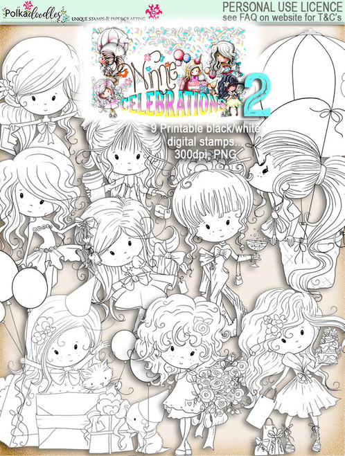Winnie Celebrations 2... 9 digi stamps - digi scrap kit download digital printables. High quality 300dpi.