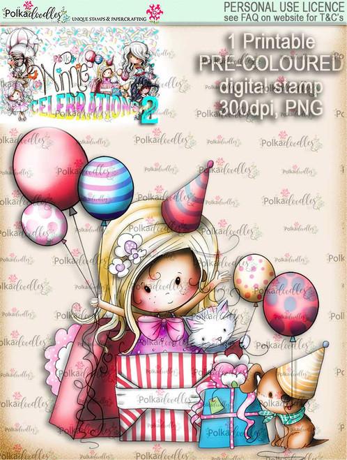Winnie Celebrations 2...Surprise!  COLOURED digi stamp printable download