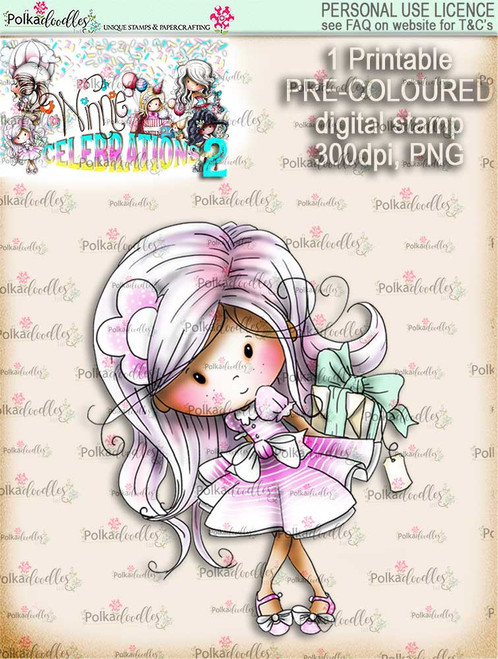 Winnie Celebrations 2...Surprise gift  COLOURED digi stamp printable download