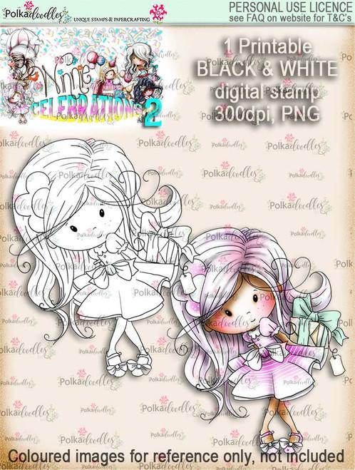 Winnie Celebrations 2...Surprise Gift  black/white digi stamp printable download