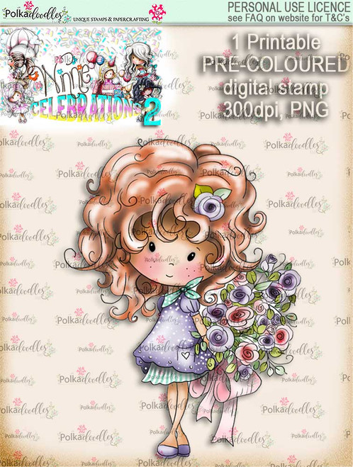 Winnie Celebrations 2...Lovely Bouquet  COLOURED digi stamp printable download