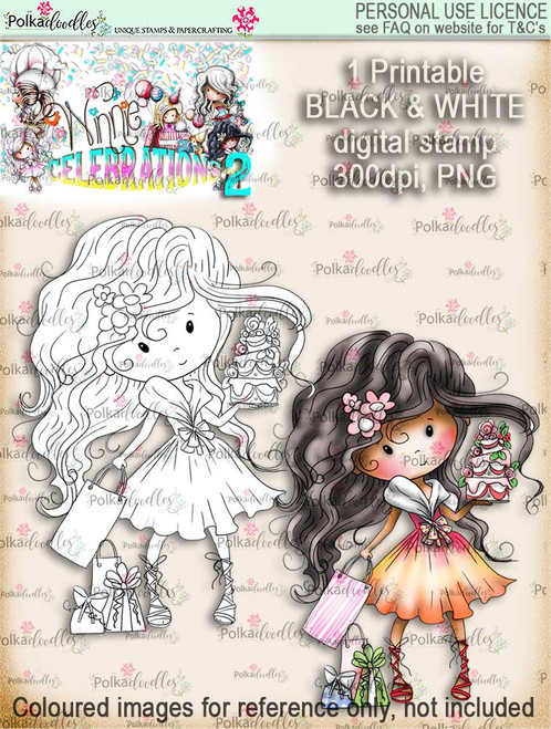 Winnie Celebrations 2...Cake time!  black & white digi stamp printable download